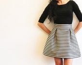 Thick Satin Striped Volumed Mini Party Skirt