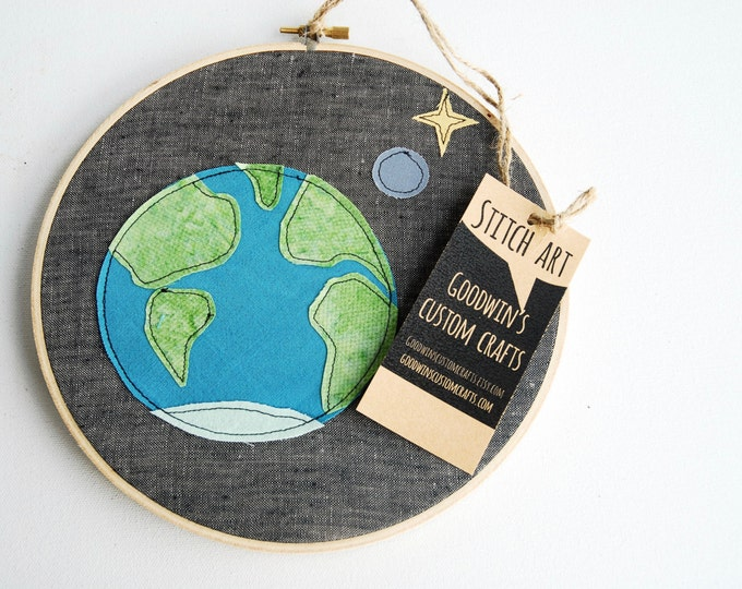 Quilted Fiber Art Hoop, Mini Art Project, Hoop Art, Stitch Art, OOAK Wall Hanging - Earth on Linen