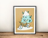 Screen Printed Cycling Poster, Mountain Bike, Bike Art