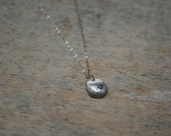 Blue sapphire sterling silver pendant necklace