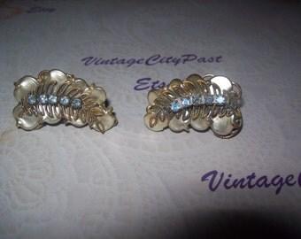 Vintage Fan Shaped Clip Earrings Pearl with Blue Rhinestones, vintage earrings, vintage ear clips, vintage jewelry