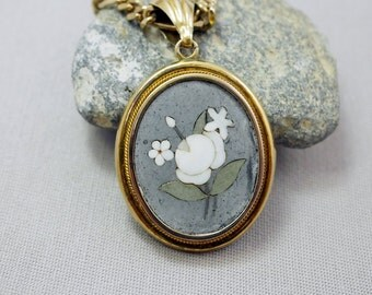 Italian Pietra Dura Locket Gold Wash Sterling Chain Vintage Pietra Dura Mosaic Locket