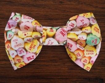 Dog Bow Tie:  Valentine's Day Dog Bow Tie - Pastel Conversation Hearts