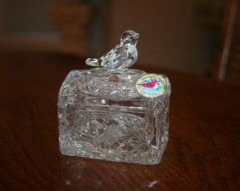 Vintage Bird Covered Crystal Box Jewelry Trinket Box Hofbauer Collection 24%  Lead Crystal Bird Pattern Made In West Germany