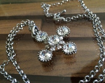 Vintage 1960s Rhinestone Cross Necklace Pendant MOD Space Age Atomic Starburst Dingbat Jewelry Accessory Silver Chain Lobster Claw Clasp