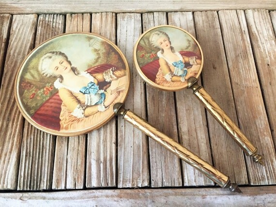 Antique Brass Mirror And Brush Set