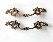 Art Deco Brass Scrolled Drawer Handle (Set of 2)