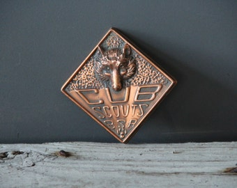 Vintage Cub Scout Copper Wolf's Head Paperweight