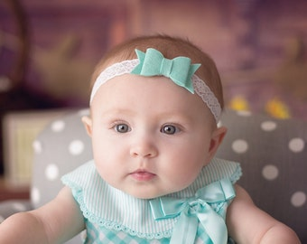Felt and Lace Bow Headband in mint and white for newborns, photo shoots, birthdays, everyday wear by Lil Miss Sweet Pea