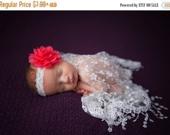 SALE 25% OFF - Lace Fringe Wrap in White with Salmon Chiffon and Lace Flower on Lace Headband for newborn photo shoots, by Lil Miss Sweet Pe