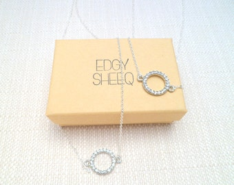 Silver and Crystal Necklace, Silver Plated Chain, Rhodium Plated Crystal Circle Minimal Necklace, Simple Silver Necklace, Dainty Chain