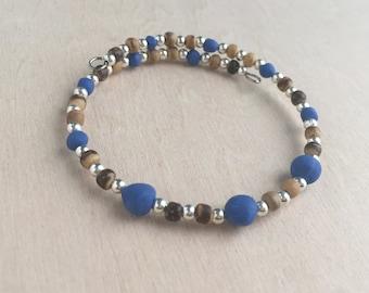 Cobalt Blue Wire Wrap Bracelet