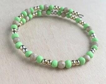 Lime Green Wire Wrap Bracelet