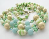 Vintage Art Glass Necklace Triple Strand. Faux Pearls, Crystal. 1950s Choker Signed JAPAN