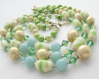 Vintage Art Glass Necklace Triple Strand, Faux Pearls, Crystal, 1950s Choker Signed JAPAN