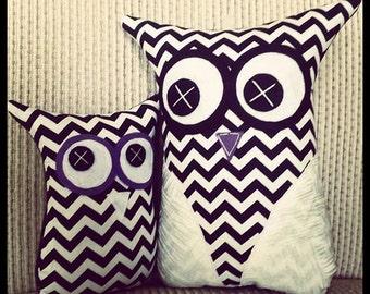 Handmade Owl Softies   26cm Set   Black & White Chevron   Baby   Girls   Gifts