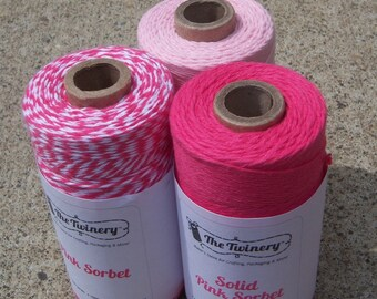 Bakers Twine - Divine Twine - 100% Cotton - Pink Sorbet Pack Plus Solid Pink Blossom - THREE Colors - Your Choice of Amount