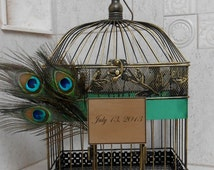 Peacock Themed Wedding Birdcage Card Holder / Wedding Card Box / Large Wedding Birdcage / Wedding Decor/ Peacock Wedding / Feathers