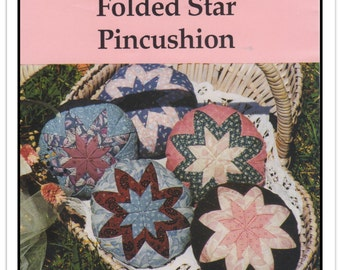 "PIECEMAKERS Pattern - Folded Star Pincushion - Folded Patchwork Technique - Pincushion Size 5"" - Vtg 1990s"