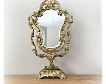 Antique tiltable Mirror Art Decor Design in gold brass. Vanitiy or Dresser Mirror