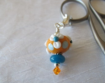 White Flowers on Orange Scissor Fob