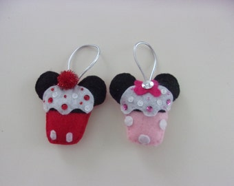 """Handmade Set of 2 Mickey and Minnie Inspired Felt and Sequin Cupcake Ornaments 2 3/4""""w x 2 1/2""""h"""