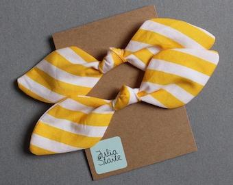 Yellow Striped Hair Bows