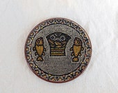 Vintage pottery plate, wall hanging, Loaves and Fishes plate (Tabgha)