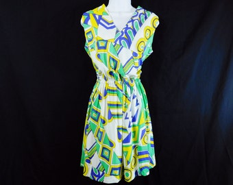 Vintage 70s Emilo Pucci style abstract print mini dress