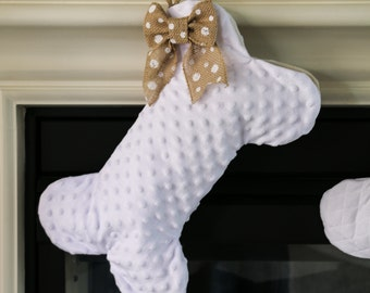 Dog Bone Stocking - White Minky Stocking