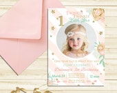 Twinkle Twinkle Little Star Invitation First 1st Birthday Invite Girl Pink Invitation Birthday Party Invite Gold Glitter Invitation