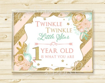 Twinkle Twinkle Little Star Pink Mint and Gold Party Welcome Sign Printable INSTANT DOWNLOAD