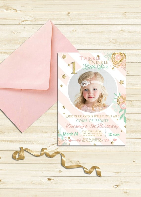 Twinkle Twinkle Little Star Invitation First 1st Birthday Invite Girl Pink Invitation Birthday Party Invite Gold Glitter Invitation