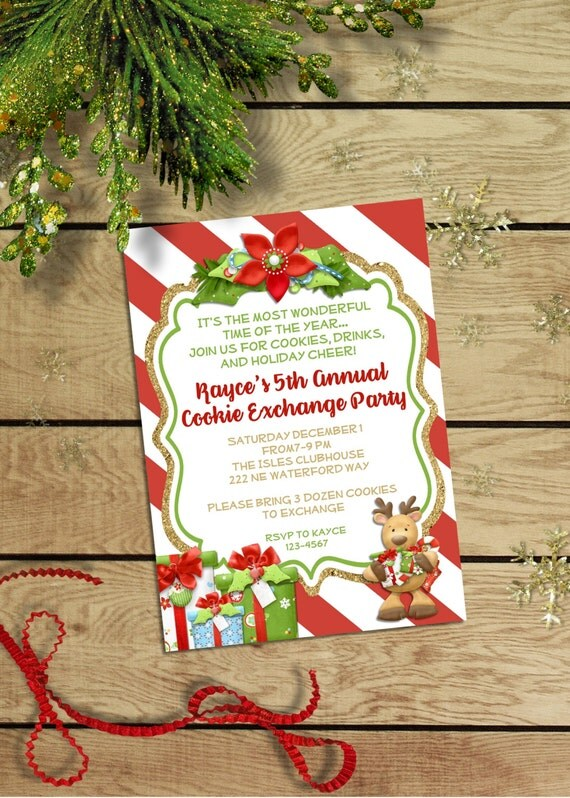 Cookie Exchange Christmas Party Invitation - Cookie Swap Christmas Invitation - Holiday Party - Christmas Cookie Party Invite