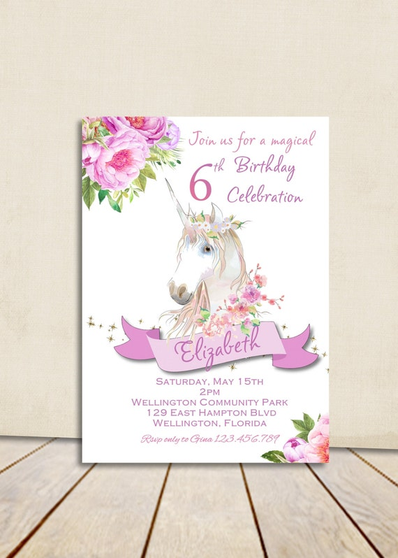 Unicorn Birthday Invitations | wblqual.com