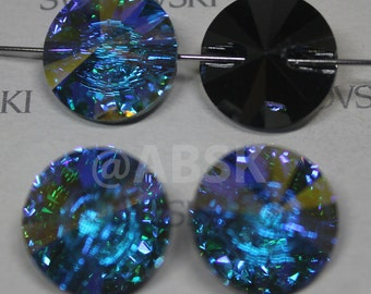 2 pieces Genuine Swarovski 3015 23MM Rivoli Button - CLEAR AB Mirror Foiled
