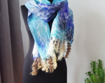 SALE Frozen river. Long elegant wet felted scarf in shades of blue, one-of-a-kind accessory