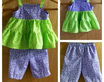 Spring/Summer Tiered Top and Capris, size 3t
