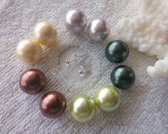 shell pearl earrings, 925 sterling silver earrings, 12mm stud earrings, 5 pairs
