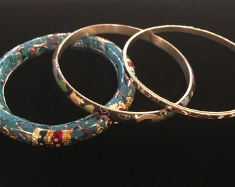Vintage cloisonné bracelet jewelry lot tribal gypsy boho bangle stacks