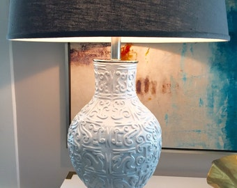 Vintage Tribal Lamp - White Ceramic
