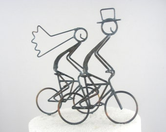 Bride and Groom on Mountain Bikes Cake Toppers