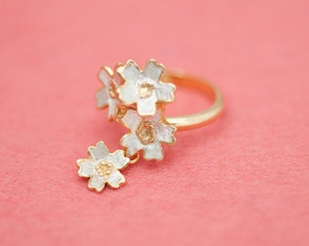 Sakura ring - Four flowers - Japanese cherry blossom ring - Free size ring - Gold and silver ring