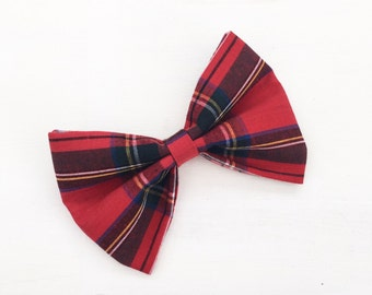 "Red Tartan Plaid hair bow 4"" Rockabilly Pin up"