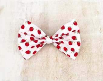 White with cute strawberry print hair bow on clip Rockabilly Pin Up