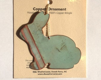 Bunny Rabbit Ornament - Handcrafted out of Old Copper