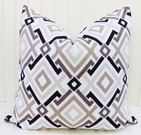 Black White Tan Throw Pillows : Black White Tan Pillow Throw Pillow Cover Decorative Pillow
