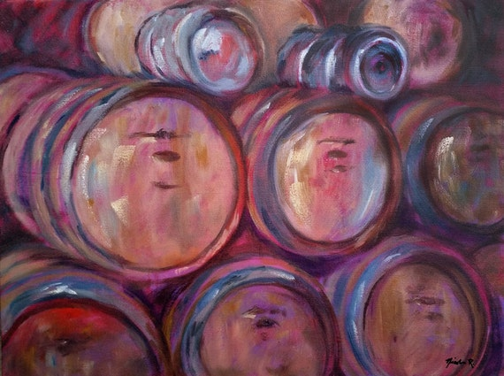 Wine Barrels, winery art, painting of wooden wine barrels, wine lovers, brown, impressionistic oil painting for kitchen or dining room