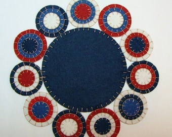 Americana Candle Mat Kit DIY, precut felt circles and floss