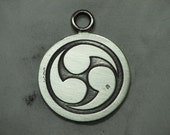 Japanese Jewelry - Handmade Japanese Triple Swish Mon Pendant Etched in Nickel